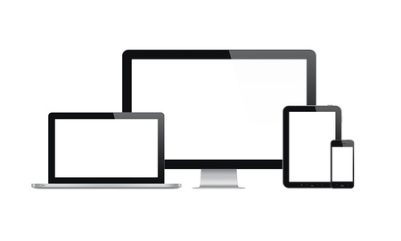 Hoge kwaliteit illustratie set van moderne computer monitor, laptop, digitale tablet en mobiele telefoon met een leeg scherm geïsoleerd op witte achtergrond