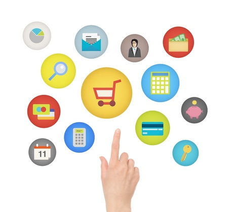 e market: Female hand touching and pointing on e-commerce and financial icons  Isolated on white background