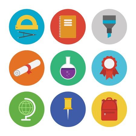 beaker: Colección de iconos vectoriales de colores en el estilo de diseño moderno piso en la educación y el tema de aprendizaje aislado en fondo blanco