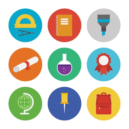 beakers: Collection of colorful vector icons in modern flat design style on education and learning theme  Isolated on white background