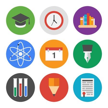 colleges: Colecci�n de iconos vectoriales de colores en el estilo de dise�o moderno apartamento en el conocimiento y la educaci�n tema aislado en el fondo blanco