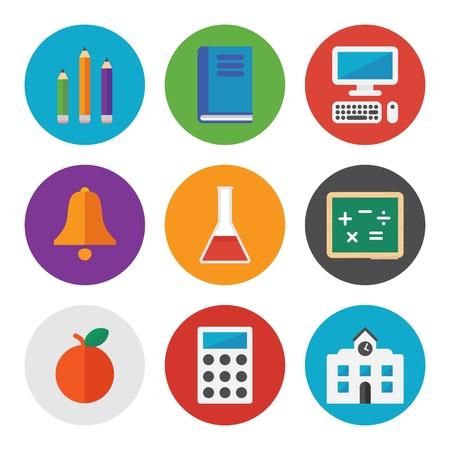 플랫: 학습과 흰색 배경에 고립 교육 테마에 현대 평면 디자인 스타일의 다채로운 벡터 아이콘의 컬렉션 일러스트