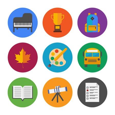 diccionarios: Colecci�n de iconos vectoriales de colores en el estilo de dise�o moderno piso en la escuela y el tema de educaci�n aislado en fondo blanco