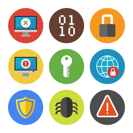 shield: Vector collection of colorful icons in modern flat design style on internet security theme  Isolated on white background