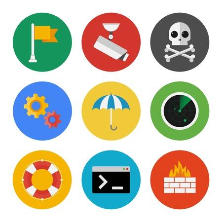 fouten: Vector verzameling van kleurrijke pictogrammen in een moderne flat design stijl op internet security thema Geïsoleerd op witte achtergrond Stock Illustratie