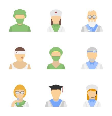 equipe medica: Set di icone vettoriali di dipendenti caratteri medici in stile moderno design piatto isolato su sfondo bianco