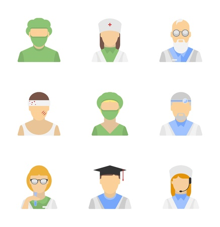 female scientist: Vector icons set of medical employees characters in modern flat design style  Isolated on white background
