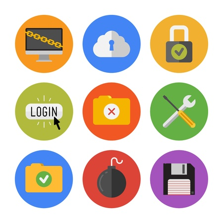 authorization: Collection of colorful vector icons in modern flat design style on internet security theme  Isolated on white background