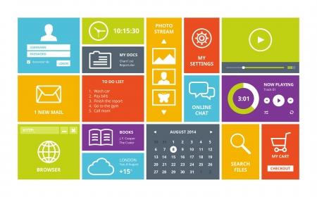 finestra: Moderna colorata interfaccia utente layout di vettore in design piatto, con forme semplici quadrati, pulsanti, widget e icone di navigazione Isolato su sfondo bianco