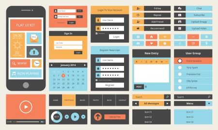 Modern UI flat design vector kit in trendy color with simple mobile phone, buttons, forms, and other interface items  Isolated on white background   Vector