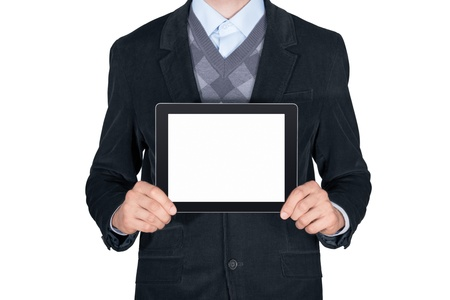 presentation screen: Young man in black suit showing modern digital tablet with blank screen  Isolated on white background