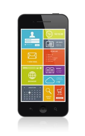 画面から分離された白い背景の上にスタイリッシュなモダンなカラフルなユーザー インターフェイスとモバイルのスマート フォンの高品質のイラス 写真素材