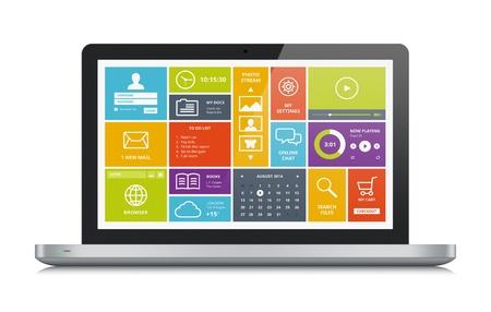 Hoge kwaliteit illustratie van een moderne metallic laptop met een stijlvolle, moderne kleurrijke gebruikersinterface op het scherm geïsoleerd op witte achtergrond Stockfoto