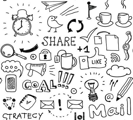 lluvia de ideas: Dibujado a mano vector sin patr�n de garabatos elementos de reflexi�n sobre las empresas y el tema de medios sociales aislados sobre fondo blanco