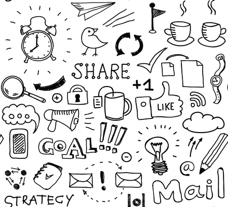 planning diagram: Disegnata a mano vettore seamless di brainstorming di elementi scarabocchi sulle imprese e il tema dei social media Isolato su sfondo bianco