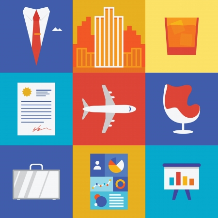 Vector illustration icons in retro color of corporate business objects and wealth items in modern flat design  Isolated on colored background Stock Vector - 21691602