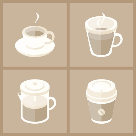 arabica: Vector illustration collection of various coffee cups in modern flat design  Isolated on brown background