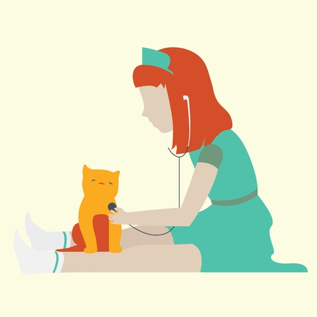 Portrait of a smiling little girl wearing as a doctor on green uniform, with a stethoscope, playing doctor with a cat  Isolated on yellow background  Vector
