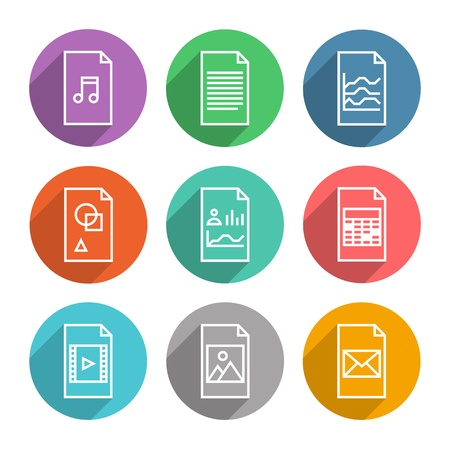 Collection of colorful vector icons in modern flat design style of various program file or document type version  Isolated on white background