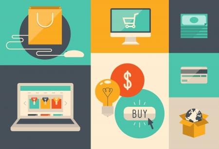 E コマースのシンボル、インターネット ショッピング要素とレトロなスタイリッシュなカラー分離された色付きの背景上でオブジェクトのフラット