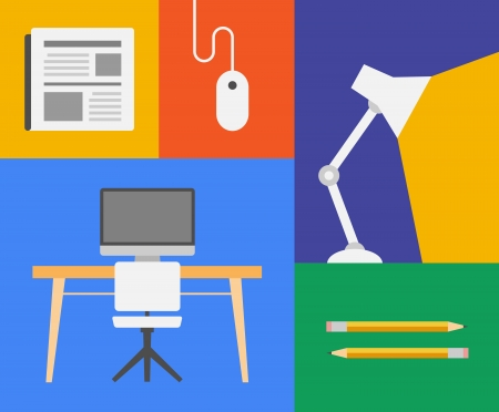 Flat design trendy vector illustration icons of office and business objects  Isolated on colored background