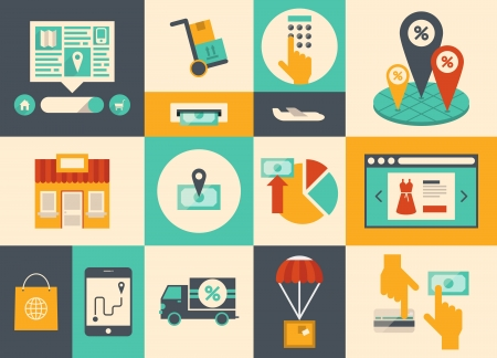 Piso de diseño de vectores iconos ilustración de los símbolos de comercio electrónico, elementos de compras por Internet y los objetos de banca en línea en el color con estilo retro aislado sobre fondo de color Ilustración de vector