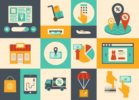 Platte ontwerp vector illustratie iconen van e-commerce symbolen, internet winkelen elementen en online bankieren objecten in retro stijlvolle kleur geïsoleerd op gekleurde achtergrond