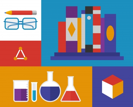 Flat design vector illustration icons of chemistry materials and elements  Isolated on retro colored background Vector