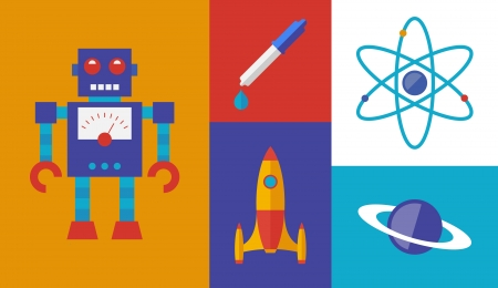 robot toy: Flat design trendy vector illustration set of rocket science and space symbols   Isolated on retro colored background