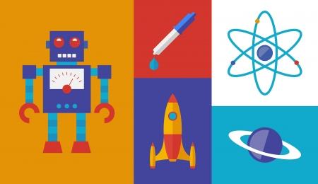 fizika: Lapos kialakítás divatos vektoros illusztráció sor rakéta tudomány és a tér szimbólumok elszigetelt retro színes háttérrel