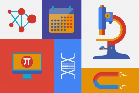 Flat design trendy vector illustration icons on science and research theme  Isolated on retro colored background Vector