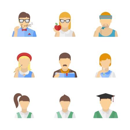 teacher student: Personajes educaci�n Colecci�n de vectores de estilo estudiante, maestro y otros en el estilo de dise�o plano moderno aislado en el fondo blanco Vectores