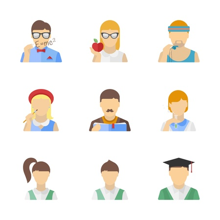 other: Vector collection of stylish student, teacher and other education characters in modern flat design style  Isolated on white background