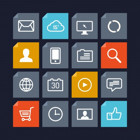 Flat design vector icons of various user interface elements and application symbols in modern metro style design  Isolated on dark background Illustration