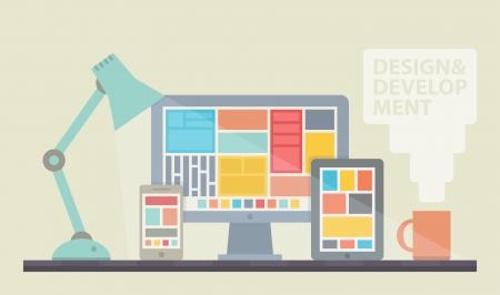 Flat illustration vectorielle de conception de processus de développement conception site web mobile et de bureau minimaliste avec tablette numérique moderne, ordinateur de bureau et smartphone sur un lieu de travail de concepteur de couleur élégant isolé sur fond beige Vecteurs
