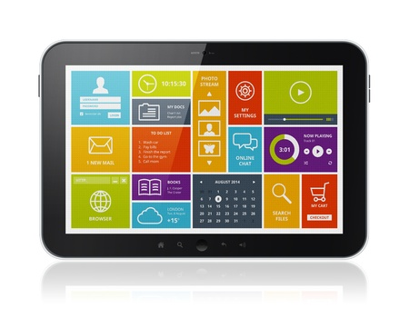 High quality illustration of digital tablet computer with stylish modern colorful user interface on a screen  Isolated on white background  illustration