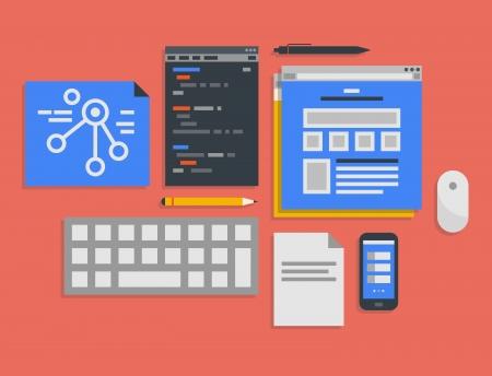 organigrama: Diseño plano ilustración iconos conjunto del flujo de trabajo moderno de la oficina para la programación web y el proceso de desarrollo de aplicaciones móviles en elegantes colores aislados sobre fondo rojo
