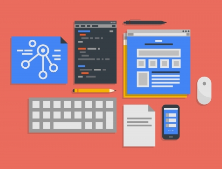 develop: Flat design illustration icons set of modern office workflow for web programming and mobile development process in stylish colors  Isolated on red background Illustration