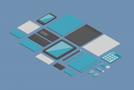 office objects: Isometric flat design stylish set of corporate identity for branding design with a variety of blank office stuff and objects  Isolated on blue background
