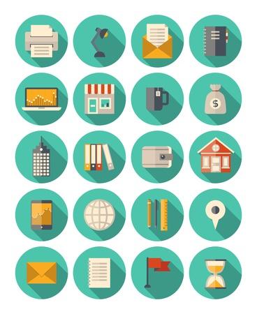 Conjunto de iconos de colores en el estilo de diseño moderno piso con efecto de sombra mucho por negocios y el tema financiero aislado en fondo blanco Ilustración de vector