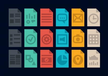 sobresalir: Colecci�n de iconos de colores en el estilo de dise�o moderno apartamento de varios archivos de programa o tipo de versi�n de un documento aislado en fondo negro