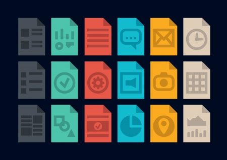 Collection of colorful icons in modern flat design style of various program file or document type version  Isolated on black background  Vector