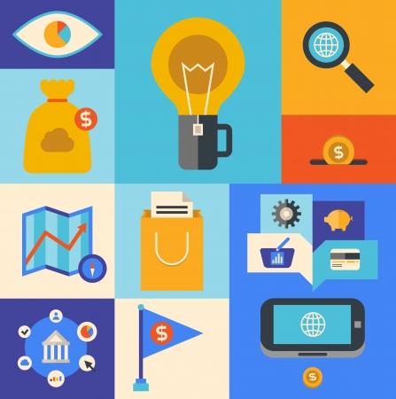 the internet: Design piatto icone illustrazione insieme di prodotto di internet marketing ed e-commerce simbolo idee in colori alla moda isolato su sfondo colorato