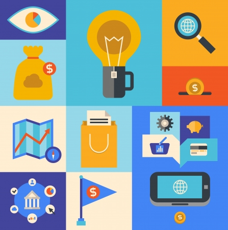 selling service: Flat design illustration icons set of internet marketing product and e-commerce ideas symbol in stylish colors  Isolated on colored background