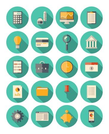 empacar: Conjunto de iconos de colores en el estilo de dise�o moderno piso con efecto de sombra larga sobre el tema financiero y de negocios aislados en fondo blanco Vectores