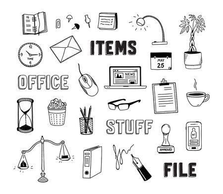 articulos oficina: Colección de garabatos dibujados a mano de los objetos de negocio y elementos de oficina aislada en el fondo blanco Vectores