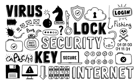 Hand drawn illustration set of internet and network security doodle elements  Isolated on white background  Vector