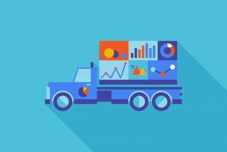planos: Diseño plano vector ilustración del concepto de vehículo de marca con las estadísticas de información de los datos de color aislados sobre fondo azul