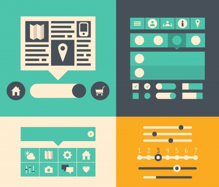 kit design: Modern flat design illustration icons set of buttons, forms, tabs, sliders and other navigation elements  for website user interface  Isolated on colored background
