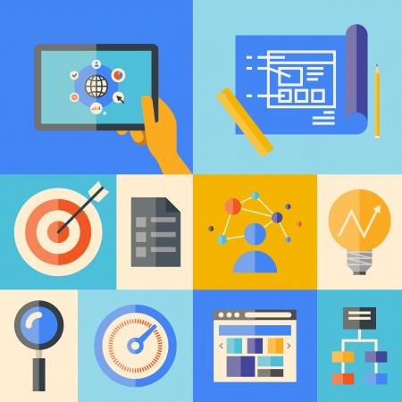 planos: Diseño plano ilustración iconos conjunto del website creando proceso de desarrollo, elementos de la aplicación web y los objetos en elegantes colores aislados sobre fondo de color